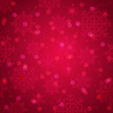 Red background with snowflake and bokeh, vector. Illustration Royalty Free Stock Photo