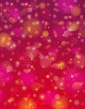 Red background with snowflake and bokeh, vector Royalty Free Stock Photo