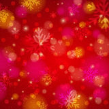 Red background with snowflake and bokeh, vector Stock Image