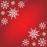 Red background with snowflakes. Royalty Free Stock Photography