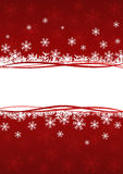 Red background with snowflakes Stock Image