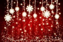 Red background with snowflakes Stock Photography