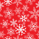 Red background with snowflakes stock photo
