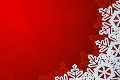 Red Background with Snowflakes in Border Royalty Free Stock Image