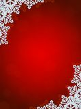 Red Background with Snowflakes in Border Royalty Free Stock Images
