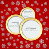 Red background with snowflakes in Circles in a gold frame Royalty Free Stock Photos
