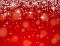 Red background with snowflakes, vector Stock Photography