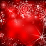 Red Background With Snowflakes. Stock Image