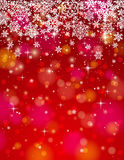 Red background with snowflakes, vector Stock Images