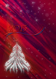 Red background with snowflakes and white Christmas tree Stock Photography
