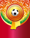 Red background with soccer ball Stock Photography