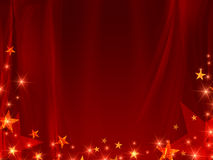 Red background with stars. And curve line Stock Photo