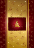 Red background with stars and Christmas tree Royalty Free Stock Images
