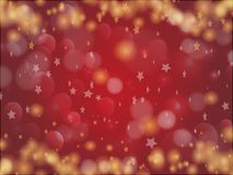 Red background with stars. And sparkles for the holidays, Valentine`s day, Christmas Vector Illustration