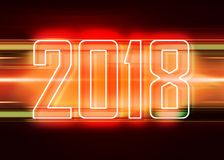 2018 red background. Technology red background with transparent figures 2018 for New Year stock illustration