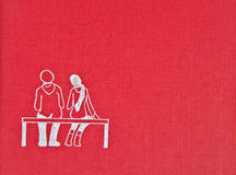 Red background texture with a drawing Royalty Free Stock Images