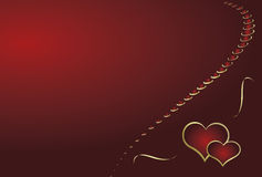 Red background with two hearts. Stock Photo
