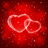 Red background with two hearts Stock Photo