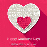 Red background with  two hearts and wishes text for Mother's Day Royalty Free Stock Images