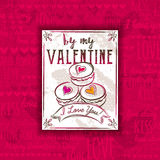 Red background with valentine heart, cookies and greeting text, Royalty Free Stock Images