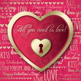 Red background with  valentine heart and wishes te Royalty Free Stock Photo