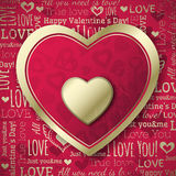 Red background with  valentine heart and wishes te Stock Images
