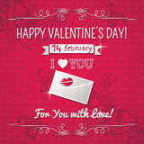 Red background with valentine heart and wishes tex Stock Photography