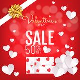 Red background Valentines Day sale banner with gift box paper cut style royalty free illustration
