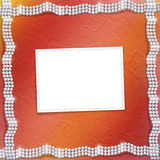 Red background with white beautiful pearls Royalty Free Stock Photography