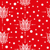 Red background with white flowers.Seamless pattern. Stock Image