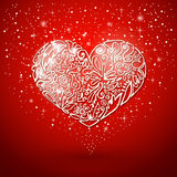 Red background, white heart Royalty Free Stock Photography
