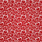 Red background with white hearts. For a Valentine day (seamless texture Royalty Free Illustration