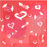 Red background with white hearts and flying letter Royalty Free Stock Photos