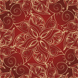 Red Background With Golden Flowers Royalty Free Stock Photo