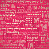 Red Background With Golden Valentine Hearts And Wi Stock Photography