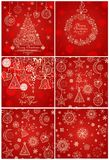Red backgrounds and greeting cards for winter holidays. Red backgrounds and greeting cards with lacy pattern for winter holidays Stock Images