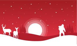 On red backgrounds Santa and reindeer landscape Stock Photos