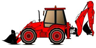 Red backhoe loader on a white background. Construction machinery. Special equipment. Vector illustration.  Royalty Free Stock Image