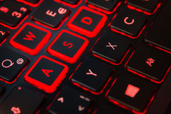 Red Backlit Computer Gaming Keyboard Action Gamer Equipment Cont Stock Image