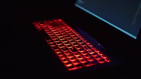 Red backlit keyboard. At FullHD stock footage