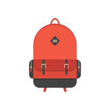 Red backpack isolated on white background. Flat style trendy modern vector illustration Stock Image