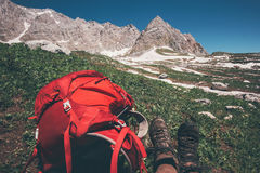 Red Backpack with rocky mountains. On background Travel Lifestyle concept adventure active summer vacations outdoor hiking equipment Stock Image