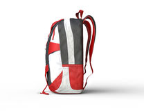 Red backpack on white background - side view Stock Photo