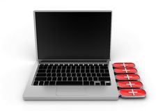Red Backup Drive Connected To Silver Laptop Royalty Free Stock Photography