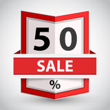 Red badge with fifty percent sign. Royalty Free Stock Image