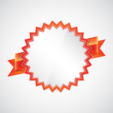 Red badge with ribbon. On gray. Abstract background. EPS10 Stock Photography