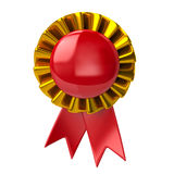 Red badge with ribbons Stock Photo