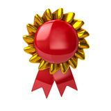 Red badge with ribbons Royalty Free Stock Image