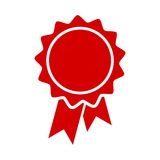 Red badge with ribbons icon, vector illustration. Vector icon Stock Photo