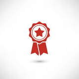 Red Badge Star. First place label user interface sign. Simply award medal badge with star icon. Sertificate ui symbol. Stamp premium quality with ribbons Royalty Free Stock Image